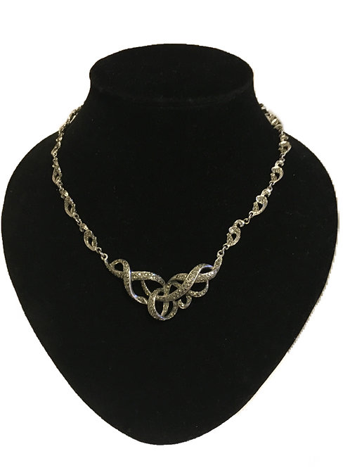 Gorgeous Articulated Marcasite Studded Swirl Necklace
