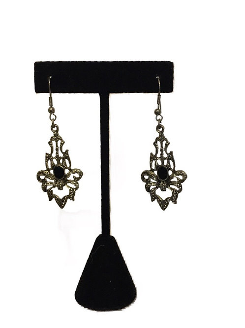Ornate Textured Metal Long Drop Earrings with Black Centre