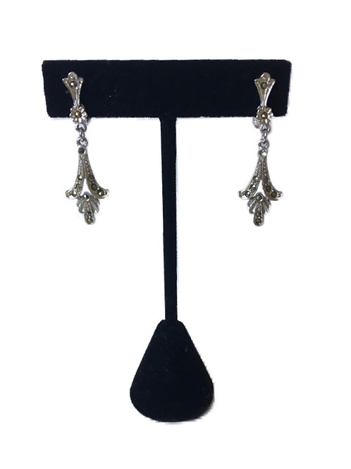 Elegant Edwardian Style Marcasite Drop Clip On Earrings