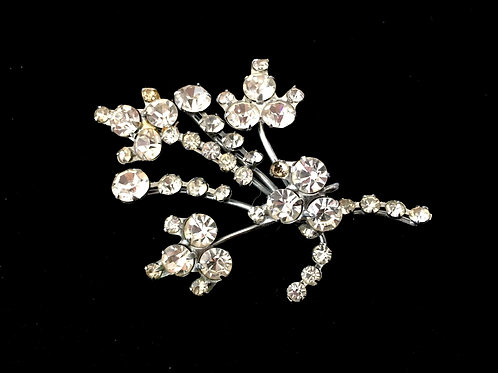 Stunning Diamanté Floral Spray Brooch