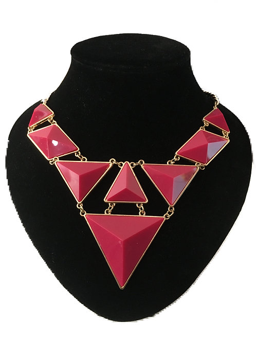 Articulated Gilt Metal and Shocking Pink Necklace