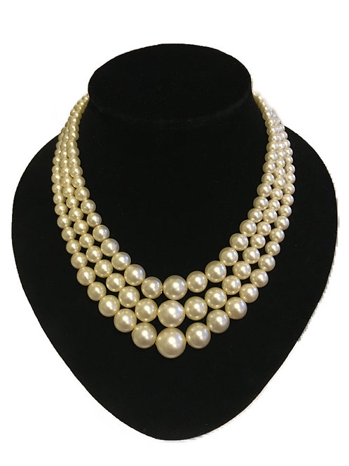 Large Three Row Faux Pearl Necklace