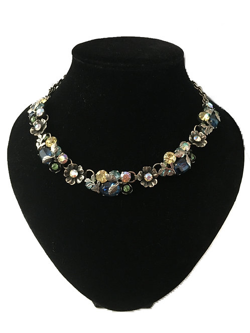Opulent Coro Jewelcraft 1950s Floral Collar Necklace