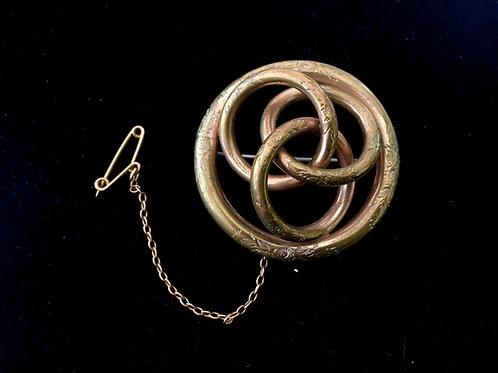 Victorian Pinchbeck Triple Swirl Brooch