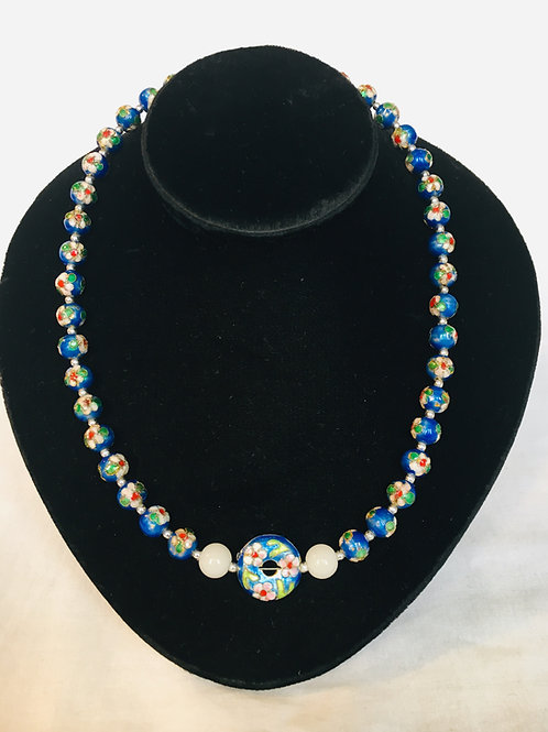Venetian Painted Glass Blue Bead Necklace