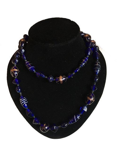Cobalt Blue Glass Long Necklace with Gilt Decoration
