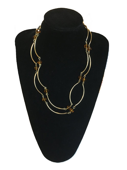 Curved Link Necklace with Amber Faceted Beads