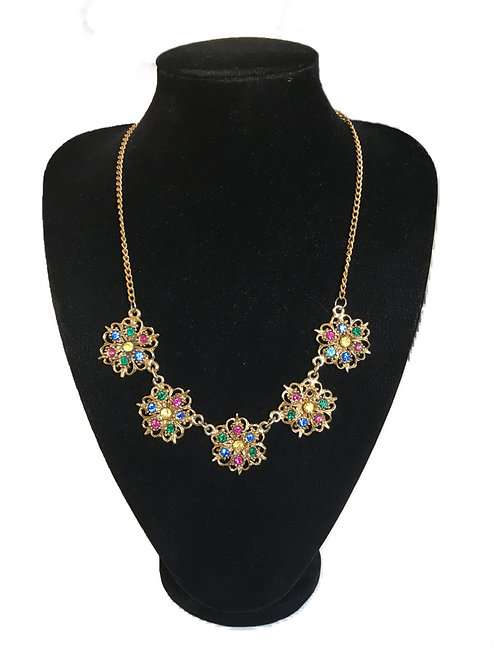 Multicoloured Gilt Metal Flower Necklace