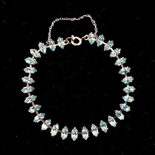Stunning Pale Blue Diamanté Gem Bracelet