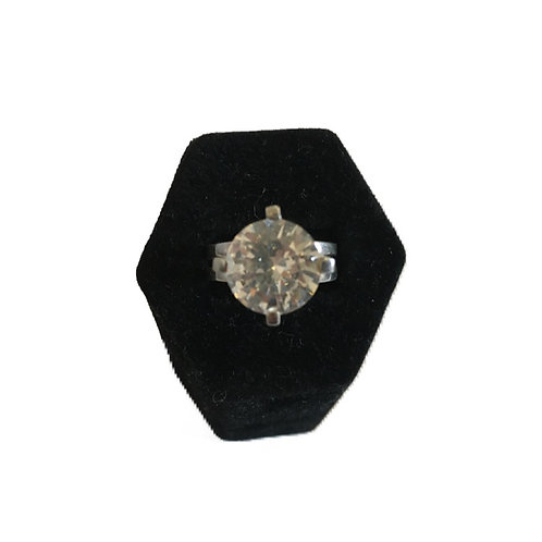Super Bling Large Diamanté Crystal Solitaire Silver Ring