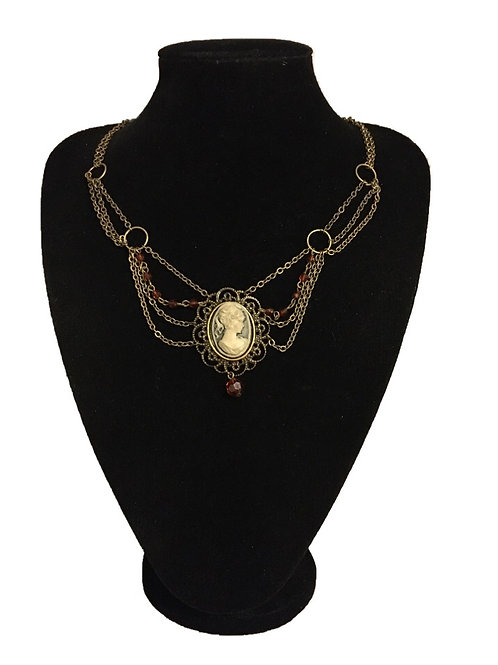 Edwardian Style Festoon Chain Necklace with Cameo