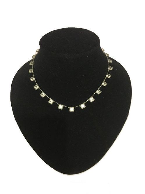 Delicate Art Deco Clear Diamanté Squares Necklace