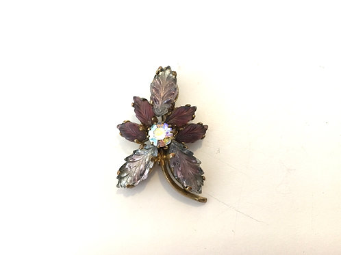Cute Purple Flower Brooch with Purple Glass Leaves and Aurora Borealis Crystal
