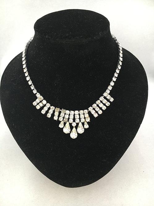 1950s Diamanté Cocktail Necklace with Pear Drops