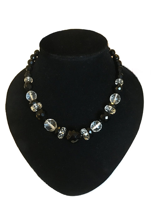 Art Deco Black and Clear Faceted Bead Necklace