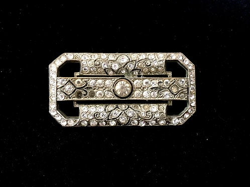 Stylish Art Deco Diamanté Brooch