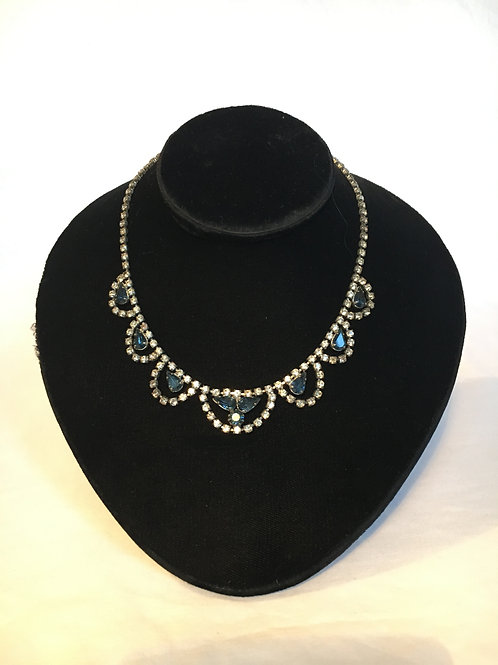 Fantastic 1950s Diamante and Blue Glass Stone Necklace