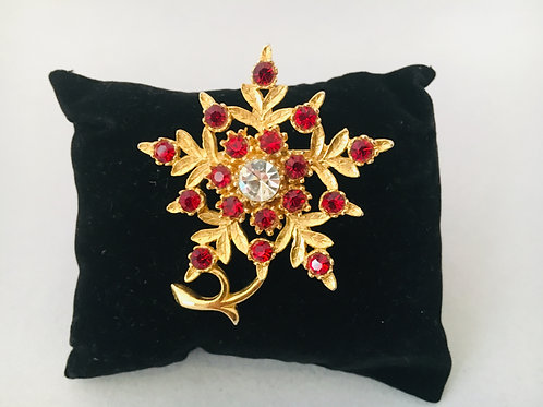 Striking Gold-tone Christmas Brooch with Red Paste Sparkle