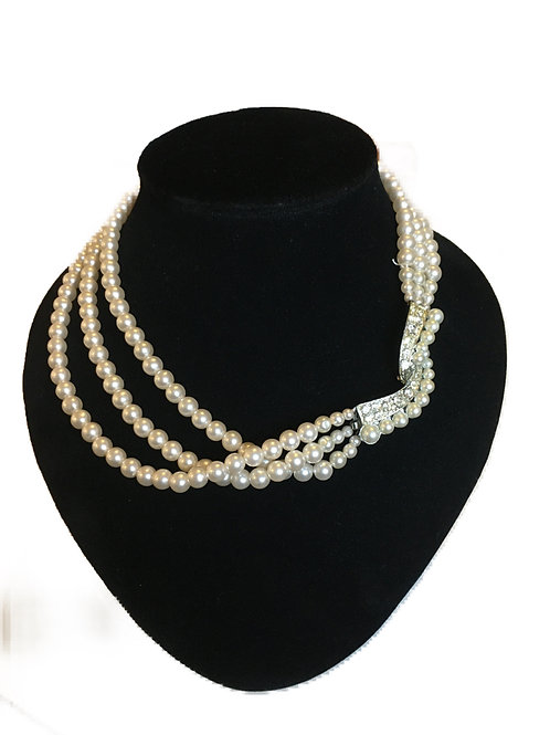Opulent Three Row Faux Pearl Necklace with Hidden Clasp