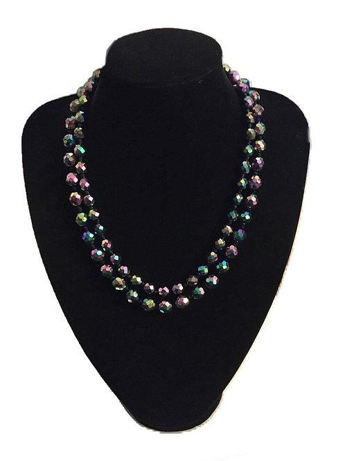 Bold and Beautiful Double Row Peacock Carnival Bead Necklace