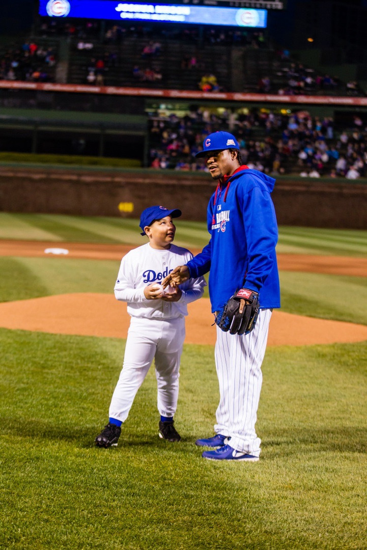 Joshua pictured before throwing the first pitch at a Chicago Cubs Game on Jackie Robinson Day