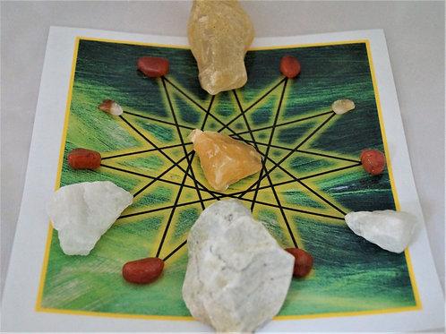 Joy, Personal Power and Vitality Sacred Geometric Crystal Reiki Healing Grid Set