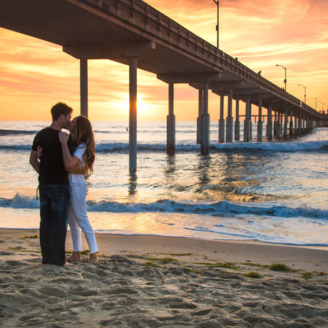 Sunset Cliffs & Ocean Beach Pier Sunset Engagement Session