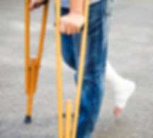 Physio treatment for child using crutches
