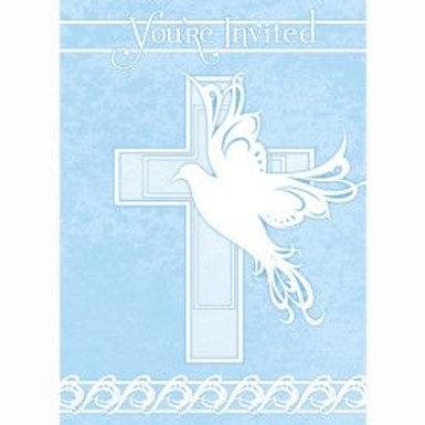 Invitation Dove/Cross Blue 8C
