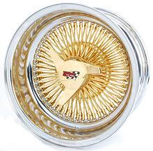 13 X 7 Inch 100 Spoke Dayton Wire Wheel with 24K Gold Center