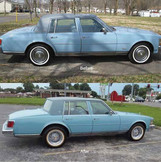 Cadillac Seville before and after photos with and without Truespoke Brougham 50 wire wheels