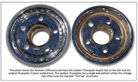 Comparison of modern Truespoke® wheel hub and vintage Truespok® hub