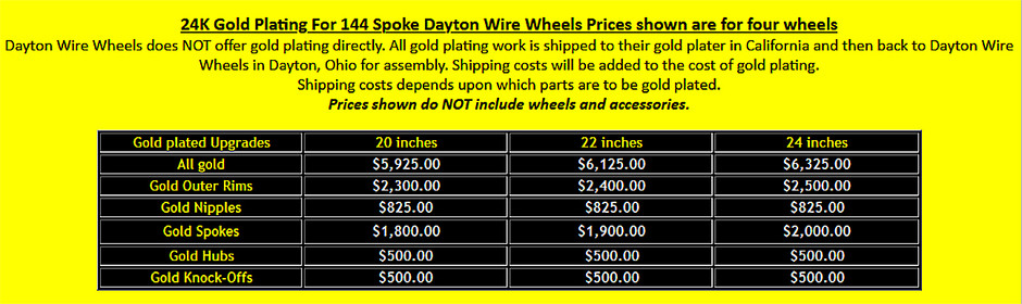 24K Gold Prices for 144 Spoke Dayton Wire Wheels