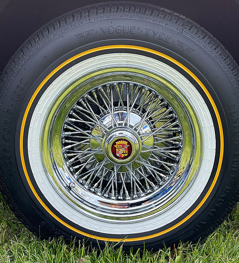 Cadillac 72 Spoke Knockoff wire wheel with Vogue Tire