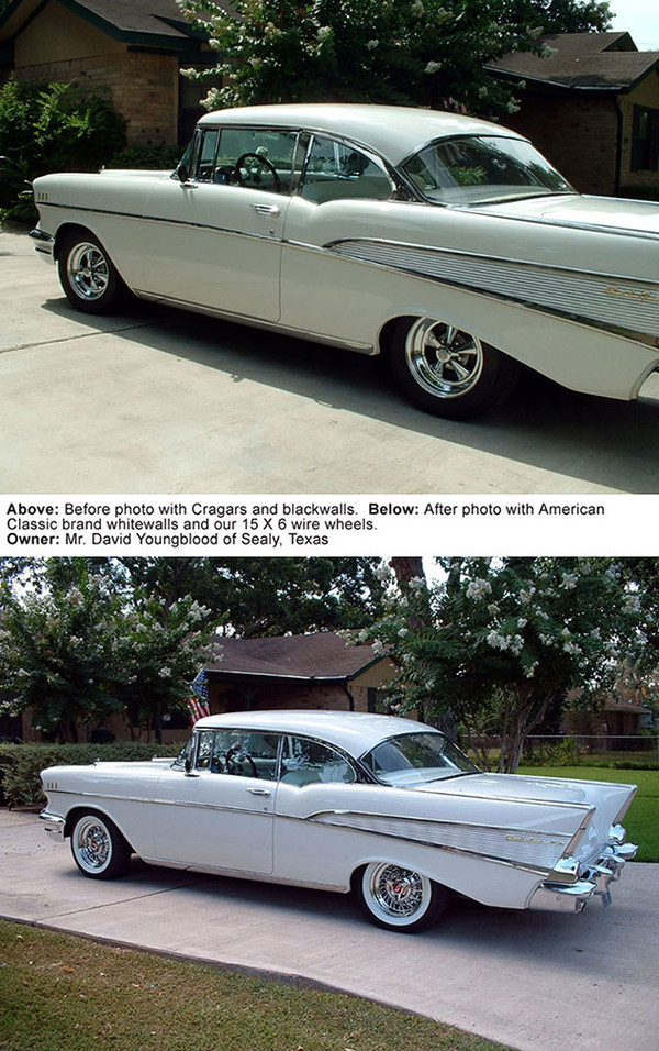 1957 Chevrolet before and after photos with wire wheels