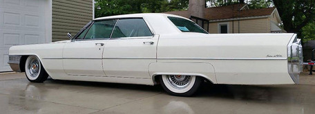 1965 Cadillac with Truespoke Fleetwood 60 chrome wire wheels