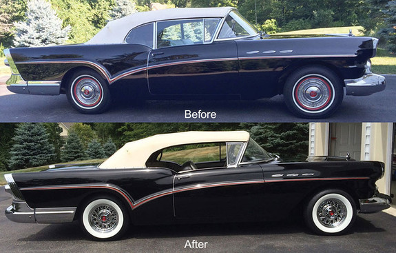 1957 Buick with chrome wire wheels an whitewall tires