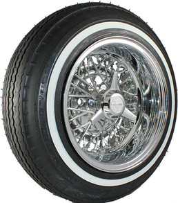 Truespoke reverse wire wheel and Premium Sport 5.20 narrow white wall tire.