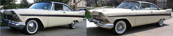 1957 Plymouth before and after on Truesoke wire whels