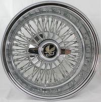 """Front view 14 X 7"""" REVERSE Truewire® 72 Spoke Cross Lace wire wheel"""
