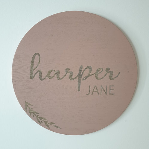 Floral Engraved Name Plaque