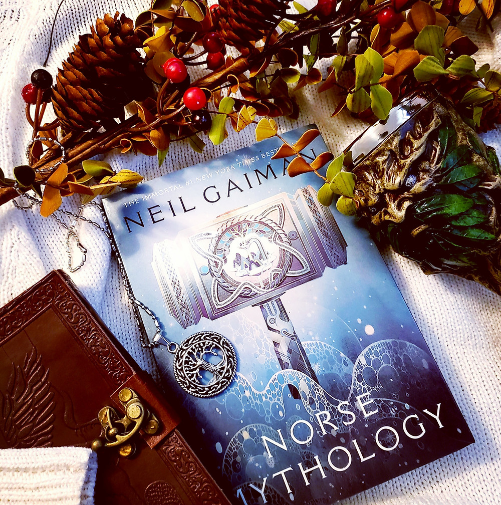 Norse Mythology by Neil Gaiman book review by book blog Coffee, Book, & Candle in honor of the Norsevember reading challenge.