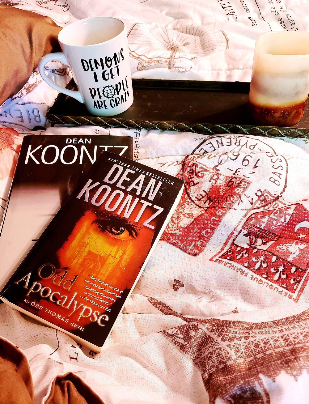 Horror Elements in Writing Coffee, Book, and Candle