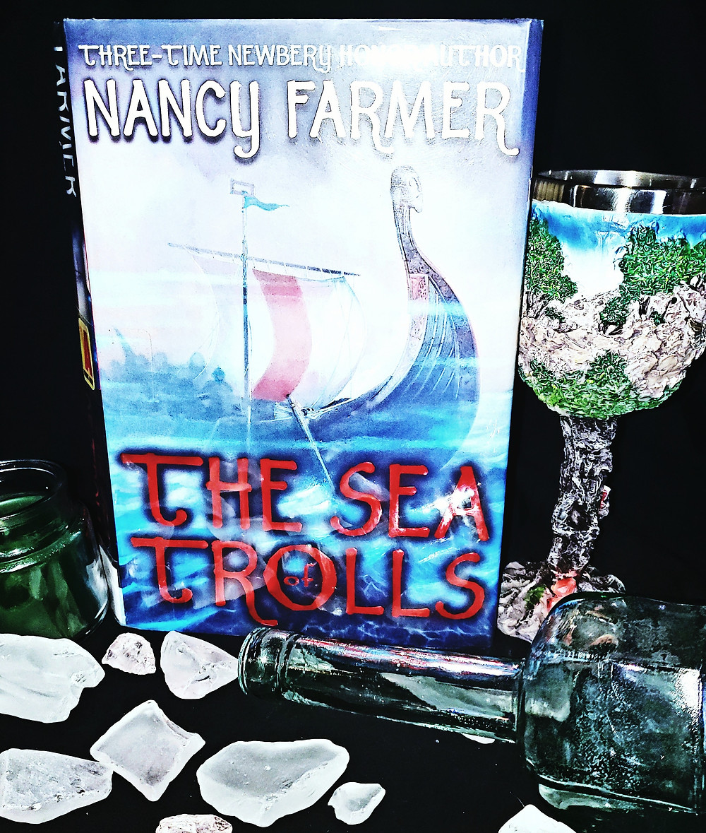 The Sea of Trolls by Nancy Farmer book review by book blog Coffee, Book, & Candle in honor of the Norsevember reading challenge.