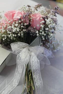 Bouquet en tonos rosados