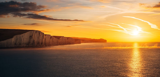 Landscape of Seven Sisters, just along from Eastbourne, at sunset