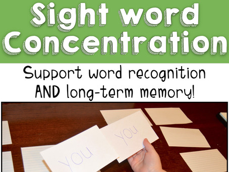 "Sight Word ""Concentration"": Support Word Recognition & Long-Term Memory!"