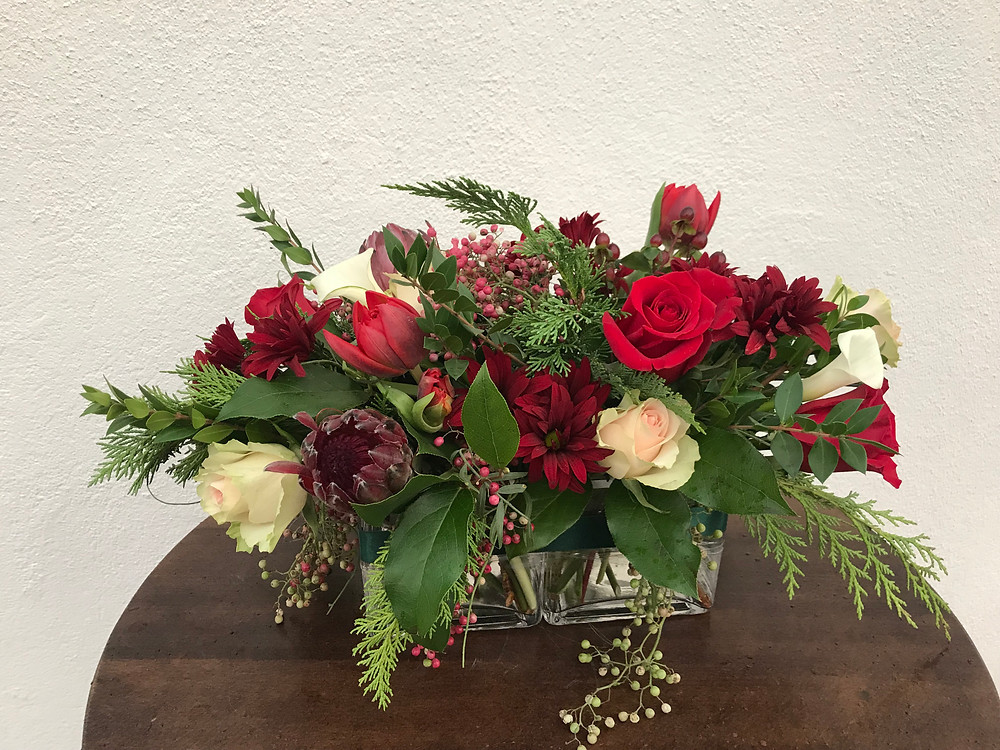 Red rose, White rose, Greens, Centerpiece for holiday