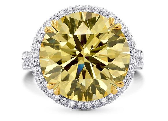 The Majestic Diamond Fancy Brownish Yellow Round Halo Ring (11.04Ct TW)