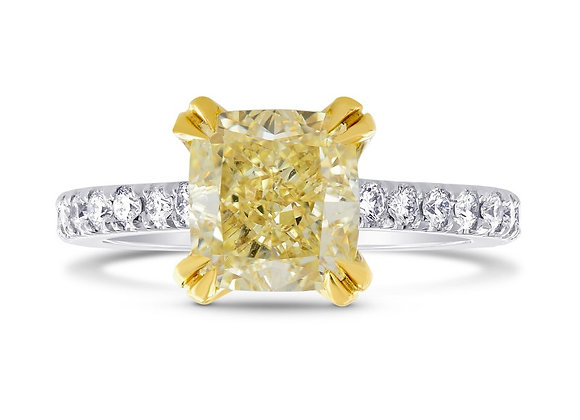 Internally Flawless Fancy Yellow Cushion Diamond Side stone Ring